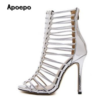 Hot selling silver leather high heel sandal 2017 sexy open toe cutouts gladiator sandal woman fashion thin heels shoes hot selling silver leather pointed toe high heel shoes 2017 sexy thick heels crystal embellished pump cutouts ankle strap shoes