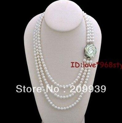 Vente chaude >@@ AS1151 7-8mm Jolie shell fleur fermoir Véritable Haute Qualité Naturel Fw perle Collier