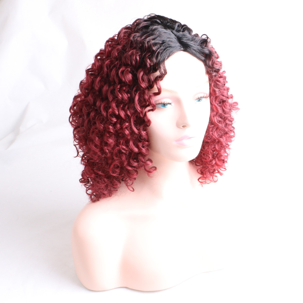 Desire for hair Kinky curly high temprature synthetic wigs for women ombre black burgundy color