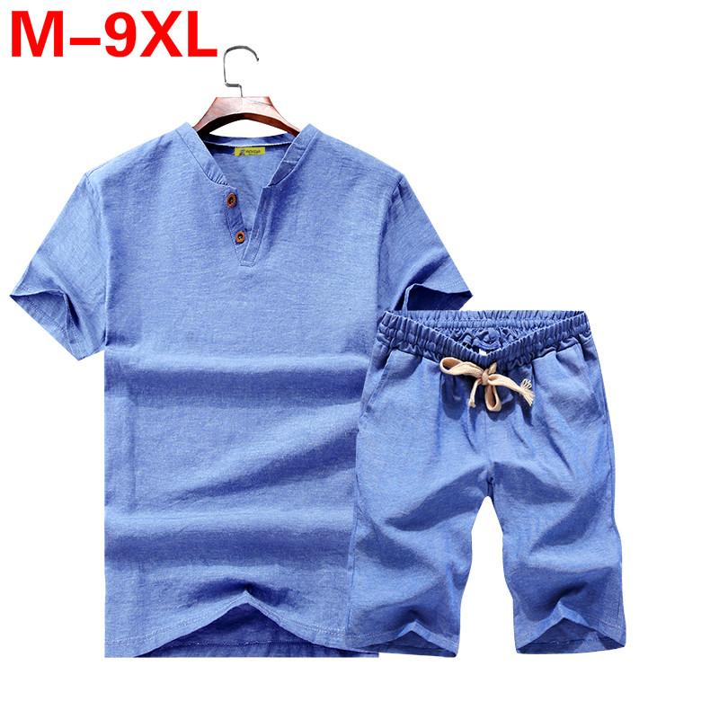 Big Size M-9XL Summer Linen Short Set Men Brand Tshirt Men Breathable Casual Beach Set 2019 T-shirt Suit Fashion Suit Men