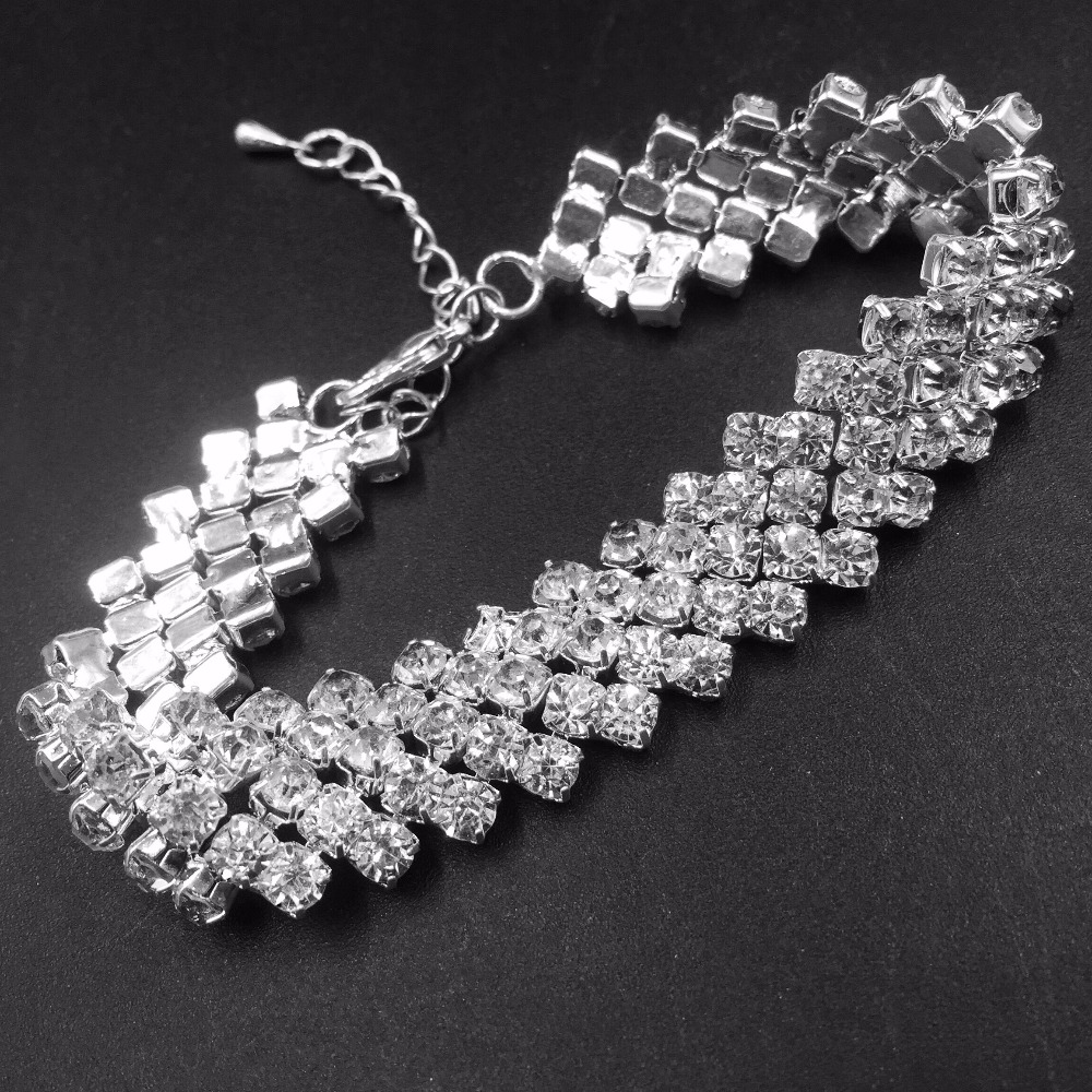 DollyBling Crystal Bracelets For Women Femme Silver Plated Charm Bracelets Bangles  With rhineStones 2017 (bra-026)