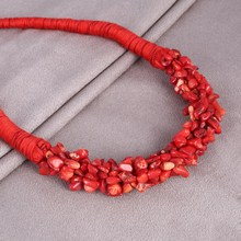 MINHIN Brilliant Red Natural Stone Pendant Choker Necklace Delicate Coral Design Rope Necklace For Women