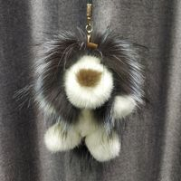 2019 Lion Toy Doll Keychain Real Mink Raccoon Fur Charm Bag Key Ring Keyring Pendant Gift Charm Accessories