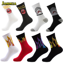 New Europe Style Men Fashion Socks Cotton Hiphop Skateboard Harajuku Shark Flame HOT Casual Street Sporty Crew Wild