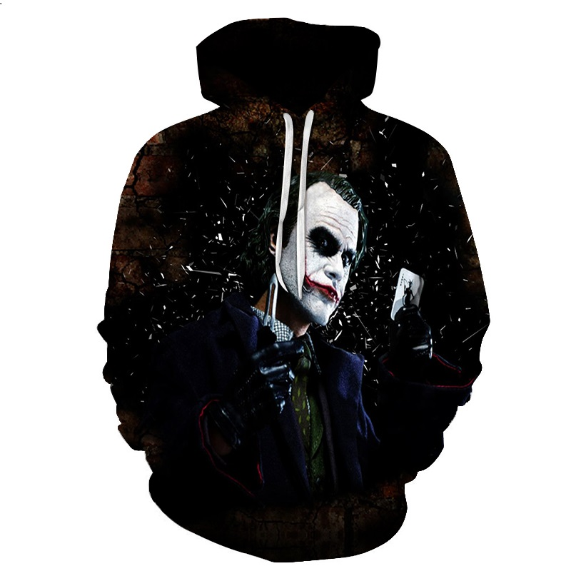 2017 NEW FASHION MEN WOMEN Black Crazy Joker HOODIE 3D Hoodie Sweatshirts Pullovers Autumn Tracksuit Winter Loose Thin Hoody