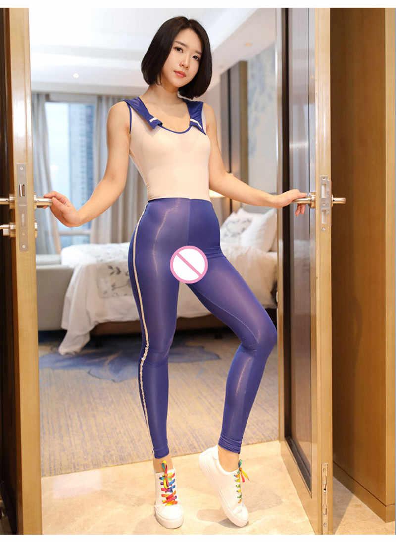 ผู้หญิงเร้าอารมณ์เปิดเป้าหนึ่งชิ้น Bodysuit นักเรียน SAILOR สไตล์คอแน่นเซ็กซี่ Temptation Patchwork COSPLAY Bodysuit