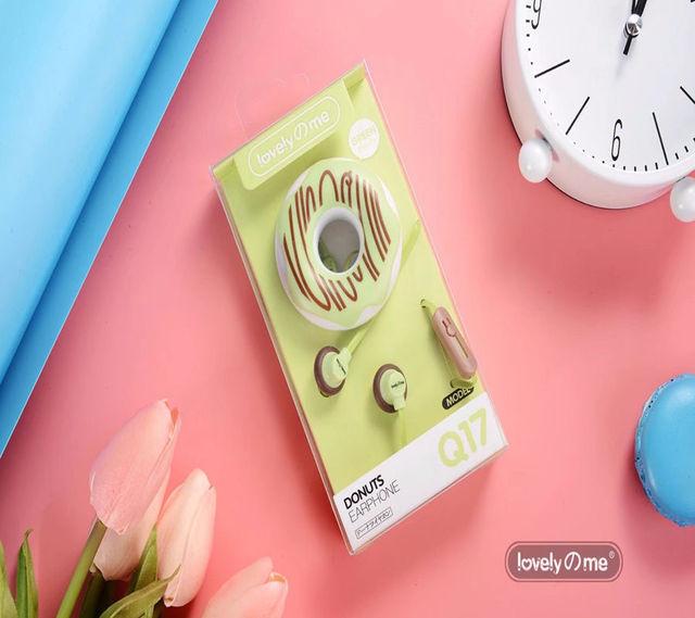 3.5mm In-Ear Cute Earphones  Macarons Donut Cartoon Earphone Q17 White/Pink/Green/Blue/Black/Mint Green Portable Earplug