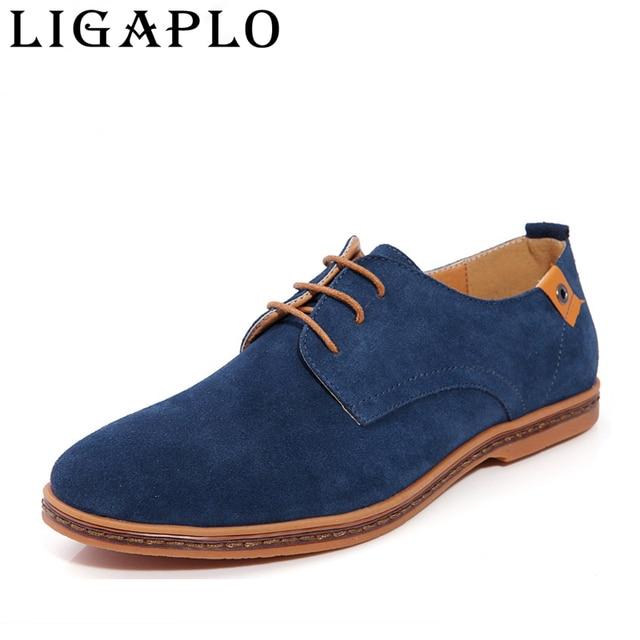 Zapatos de marca zapatos de los hombres de los hombres ocasionales Con Cordones de zapatos de Gamuza de Imitación zapatos de los Planos oxfords cómodo para chaussure homme