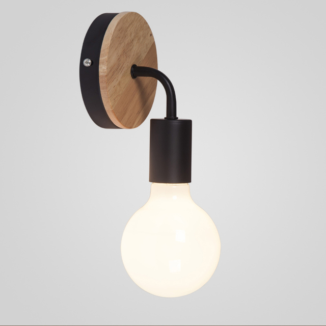 Modern Northern Europe Vintage Wood Metal wall Lamp Industrial Indoor Lighting Bedside Lamps LED Wall Industrial Indoor light 2