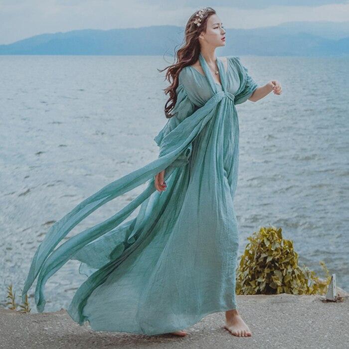 Medieval Renaissance Light Blue And White Gown Dress: 2018 Women Light Blue Seashore Photo Shooting Vintage