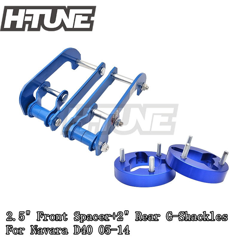 H-TUNE 4x4 Accesorios 32mm Front Spacer and Rear Extended 2 inch G-Shackles Lift Up Kits 4WD For Navara D40 05-14 lift kit for toyota hilux revo