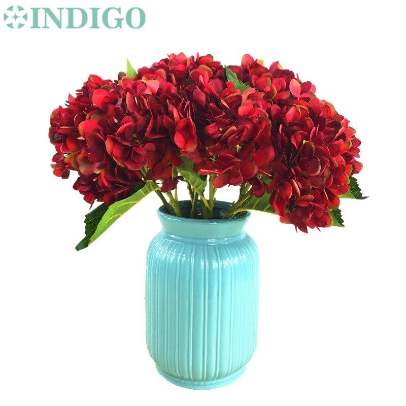 INDIGO- 5 unids Hortensia Roja Con Hojas Flor Hydrange Hermosa Flor - Para fiestas y celebraciones - foto 4