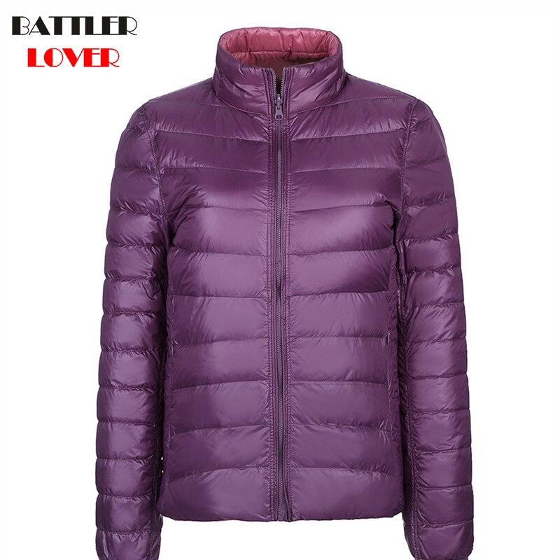 Winter Light   Down     Coats   Two Sides Wear Women Ultralight White Duck   Down   Parkas Female   Down   Jacket Ladies Wadded Warm   Coat   Parka