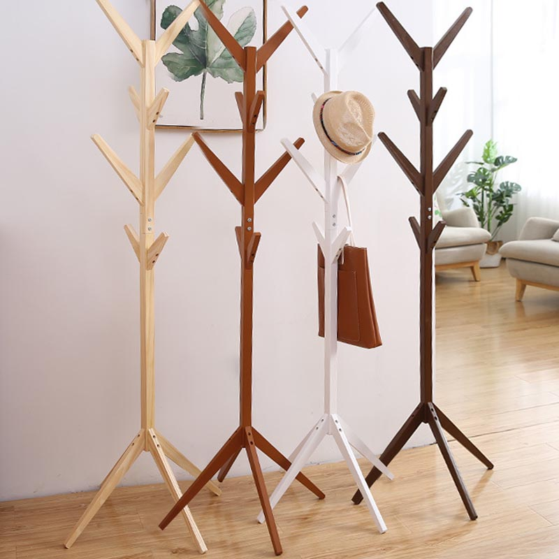 New Stand Solid wood floor coat rack Simple Assembly Triangle Base clothes shelves hanger home storage