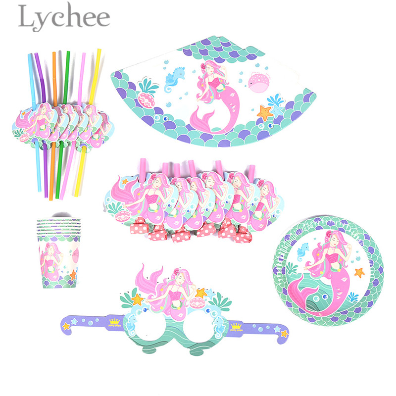 Lychee 36pcs Mermaid Flamingo Unicorn Dinosaur Pattern Tableware Sets Disposable Paper Plates Tableware Birthday Party Supplies