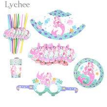 Lychee 36pcs Mermaid Flamingo Unicorn Dinosaur Pattern Tableware Sets Disposable Paper Plates Tableware Birthday Party Supplies