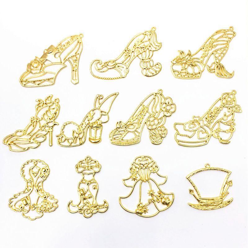 10Pcs Gold Charm Princess High Heels Frame Pendant Open Bezel Setting UV Resin Jewelry