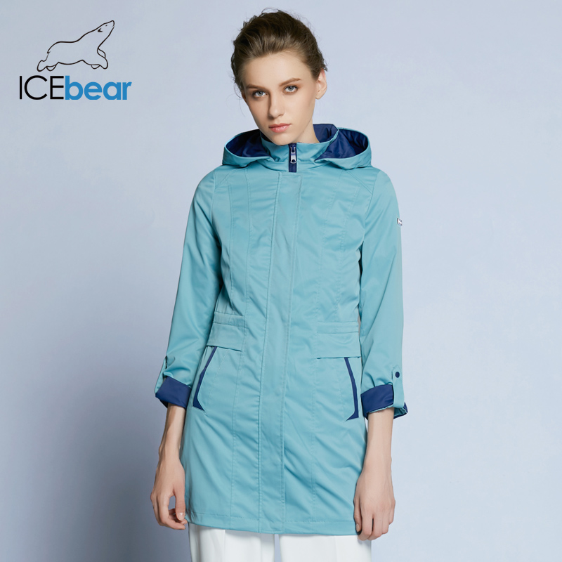 ICEbear 2019 Womens Coat High Quality Spring Regular   Trench   Coat For Women Windbreaker Hat Detachable B17G116D