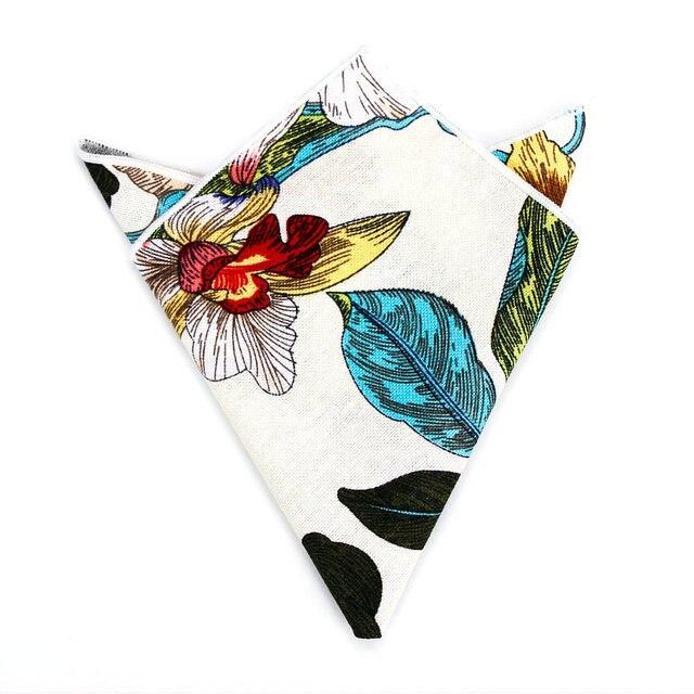 26e983cb4880c Luxury Men's Handkerchief Cotton Pocket Square Floral Flower Print Hankies  Red White Yellow Black Chest Towel Suit Hanky 25*25CM