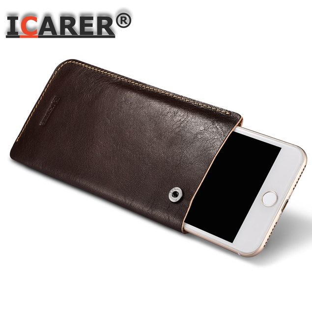 reputable site dbe68 2ae7b US $29.99 |For IPhone 8 X 6 7 5.5 Inch Universal Case Genuine Leather  Mobile Phone Pouch Bag Luxury Fundas Coque 6S Plus-in Fitted Cases from ...