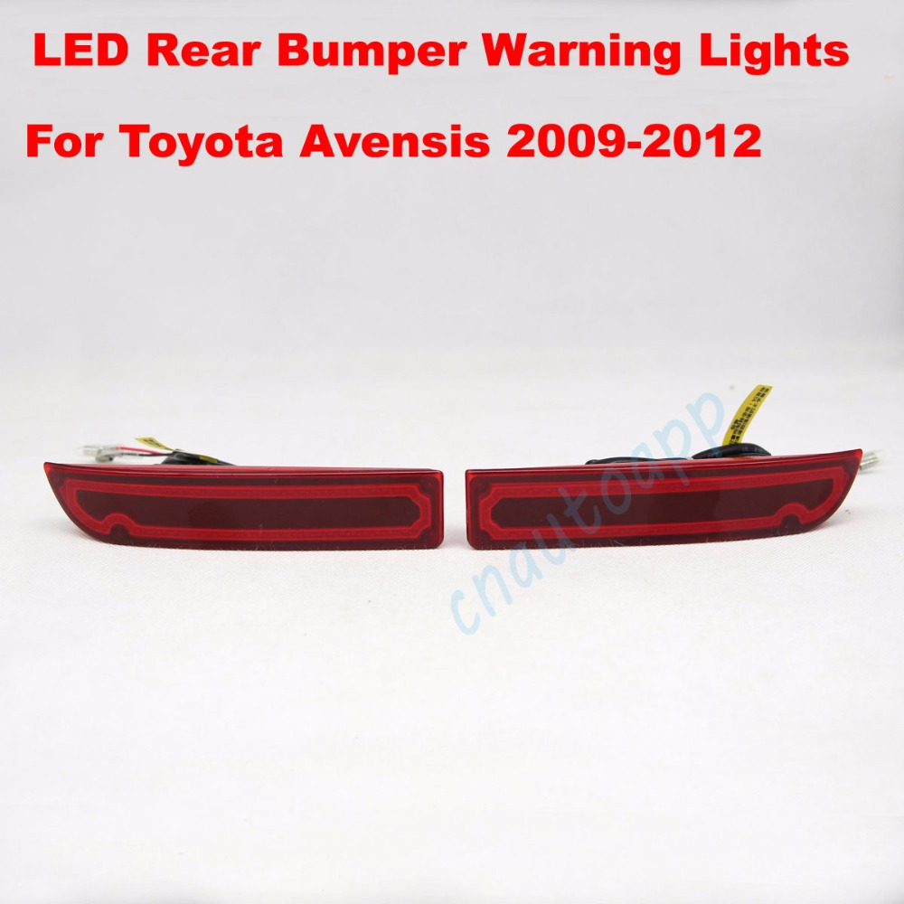 LED Rear Bumper Warning Lights Car Brake Lamp COB Running Light LED Turn Light For Toyota Avensis 2009-2012  (One Pair) dongzhen fit for nissan bluebird sylphy almera led red rear bumper reflectors light night running brake warning lights lamp
