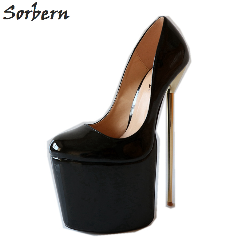 Sorbern 22 см золотой высокий каблук женские туфли лодочки слипоны обувь на платформе Большие размеры обувь Размер 15 каблуки Плюс Размер обувь л