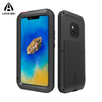 LOVE MEI Heavy Duty Full Protection Case for Huawei Mate 20 Pro Shockproof Case Cover Soft Silicone Metal Cover Toughened Glass