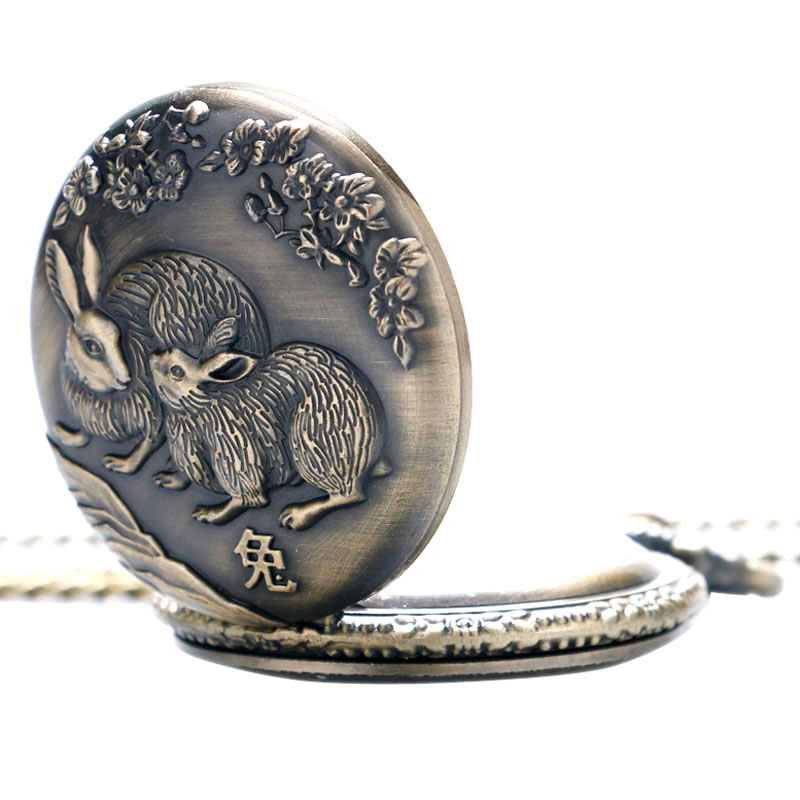 Chinese Zodiac Rabbit Hollow Quartz Pocket Watch Necklace Pendant for Wome and Men P404