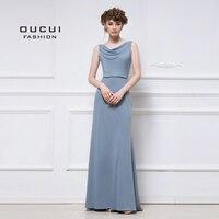Реальные фотографии Женские Длинные платье для выпускного вечера строки Простой шифон элегантный платье подружки невесты OL103104