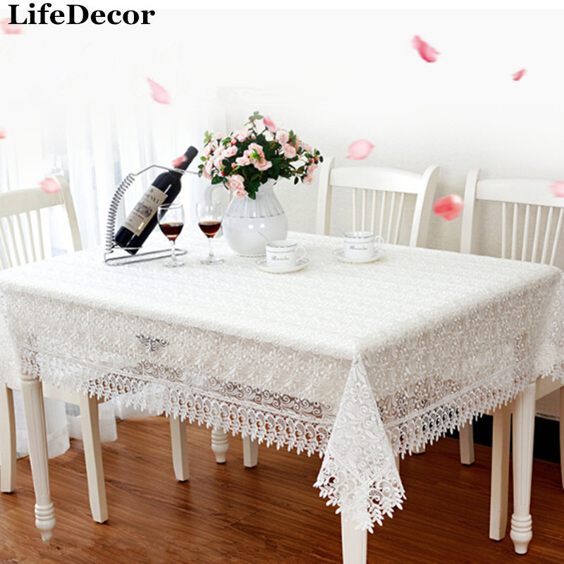 Pink White Fresh Glass Yarn Embroidery Lace Tablecloths European Coffee  Table Cloth Tablecloth Pastoral Modern Minimalist
