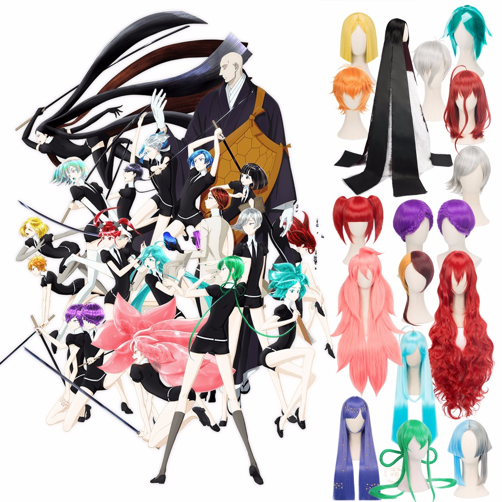 Houseki no Kuni Sphene Cosplay Wigs Land of the Lustrous Country of Jewels TV Anime Costume Facial Hair Braids Ponytails