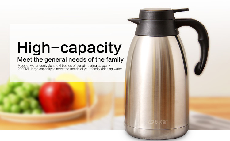 ORZ 304 Stainless Steel 2L Thermos Bottles Teapot Vacuum Flasks Thermo Hot Water Bottle Insulated Coffee Tea Vacuum Carafe