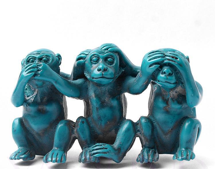 Vintage Blue Synthetic Turquoise See Speak Hear No Evil 3 Monkey Statues Free Shipping On Aliexpress Alibaba Group