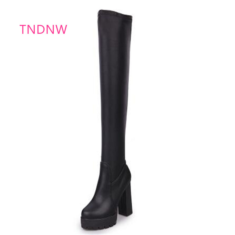 2017 Women Boots High Heels lady Thigh High Boots Winter warm female Sexy Over Knee Boots plush martin Ladies Autumn Shoes botas women boots winter autumn cow suede thigh high boots sexy over the knee high heels shoes fshion botas senhora bottes d hiver