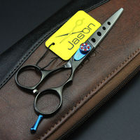 High Quality 6 0Inch JP440C Cutting Scissors Black Hair Shears With Hole On Blade For Hairdressers