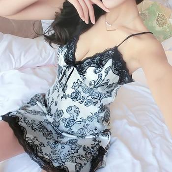 Sexy Lace Night Dress For Women V-Neck Sleepwear Skirt Silk Nightgown Sleeveless Nightdress Ladies Nightwear Summer Homewear #D 6