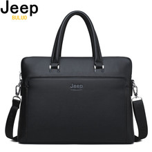 JEEP BULUO Brand Men Briefcases Cow Split Leather Handbag For 14 inch Laptop bags Man Travel Briefcase Office Tote Bag A4 Files