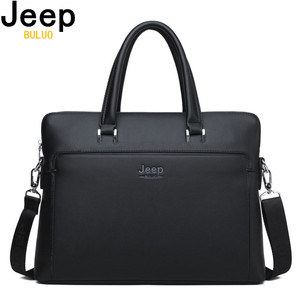 Image 1 - JEEP BULUO Brand Men Briefcases Cow Split Leather Handbag For 14 inch Laptop bags Man Travel Briefcase Office Tote Bag A4 Files