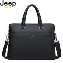 Jeep buluo marca men briefcase vaca dividir bolsa de couro para 14 polegada portátil sacos homem mala viagem escritório tote saco a4 arquivos