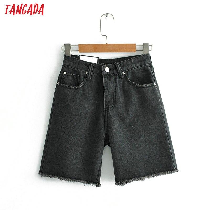 Tangada Women High Waist Jeans Shorts Black 2019 Summer Ladies Short Jean Femme Korea Fashion Casual Brand Jeans Shorts FN77