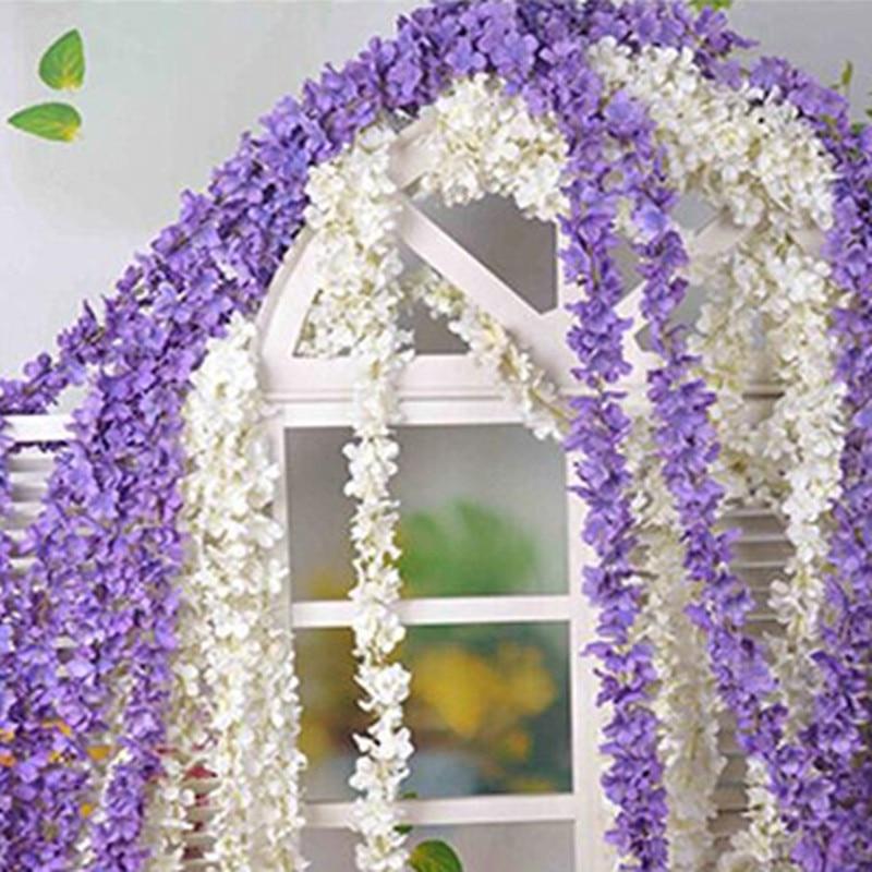 80″(200cm) Super Long Artificial Silk Flower Hydrangea Wisteria Garland For Garden Home Wedding Decoration Supplies 6 Colors