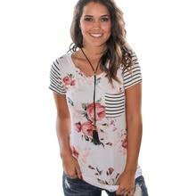 цена на Striped Short Sleeve T Shirt Women Tops Tee Shirt Femme Print Floral Flower T-Shirts Female Summer Beach Casual Woman tshirt