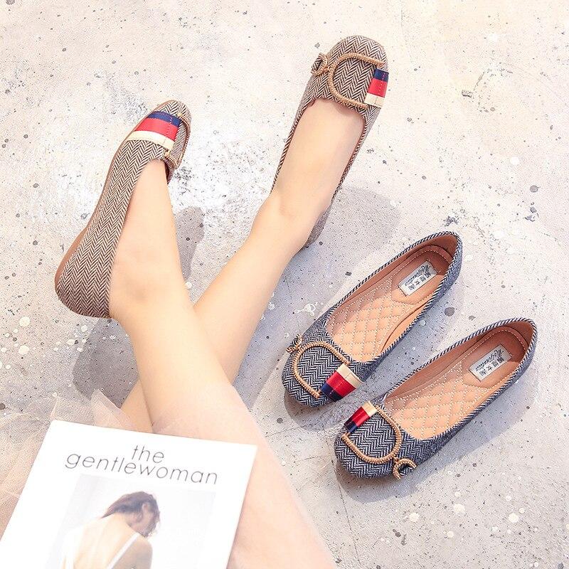 Femmes Chaussures Espadrilles Mocassins Grande marron Femme Casual Toile Strass Sur Ballet En Mode Plates Glissement Appartements Taille Noir Dames MLUzVqSpG