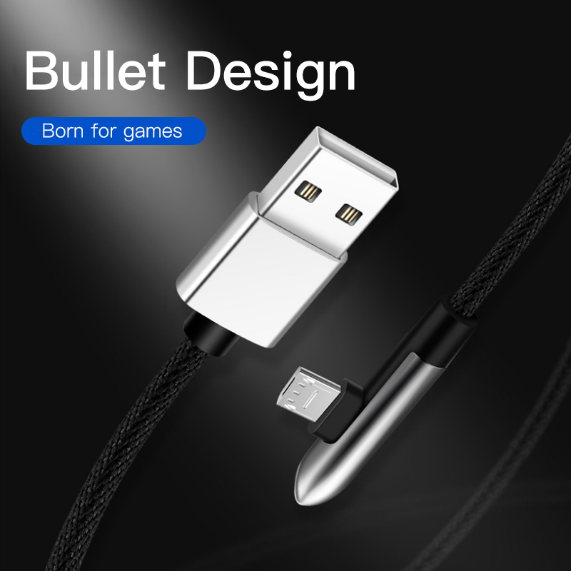 ACCEZZ Micro USB Cable Elbow Fast Charging For Huawei Samsung Xiaomi Tablet Data Sync Android Mobile Phone Microusb Charge Line in Mobile Phone Cables from Cellphones Telecommunications