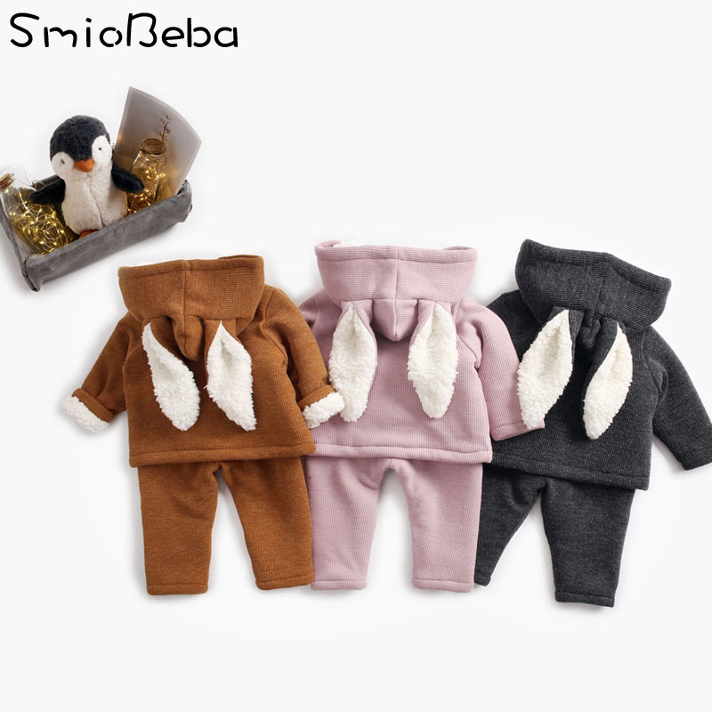 2018 New Two piece Sets Newborn Baby Boys Children Bunny Winter Kids Clothes Sweatshirt with Hooded Warm Pants Snowsuit Sets