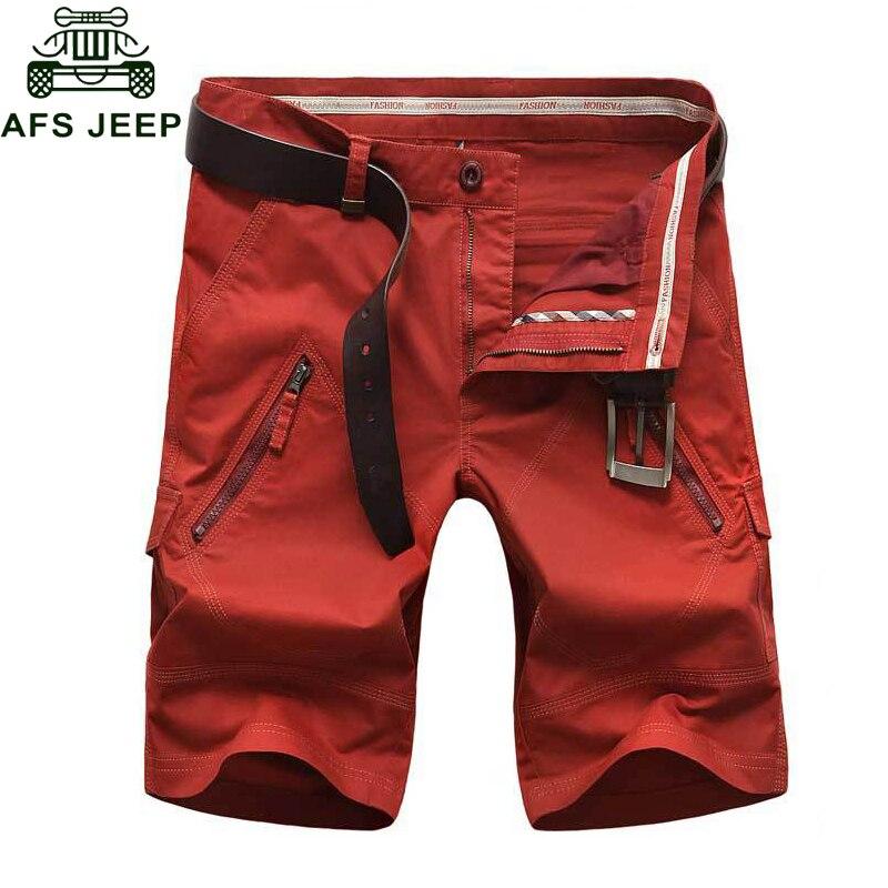 Afs Jeep 2017 Cargo Shorts Men s Shorts Bermudas Masculina de Marca Straight Pockets Men s