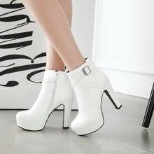 נשים קרסול מגפי פלטפורמת עקבים גבוהים מגפי רוכסן בוהן עגול חורף גבירותיי מגפיים לבן מישמש שחור מגפי אישה 2019 חדש נעליים