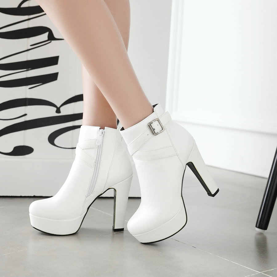 Bayan ayak bileği çizmeler platformu yüksek topuklu çizmeler fermuar yuvarlak ayak kış bayan botları beyaz kayısı siyah çizmeler kadın 2019 yeni ayakkabı