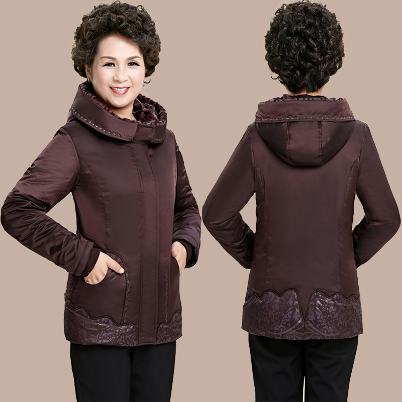 2017 Thick large yards old lady down jacket winter middle-aged women middle-aged mother fitted short paragraph old jacket the little old lady in saint tropez