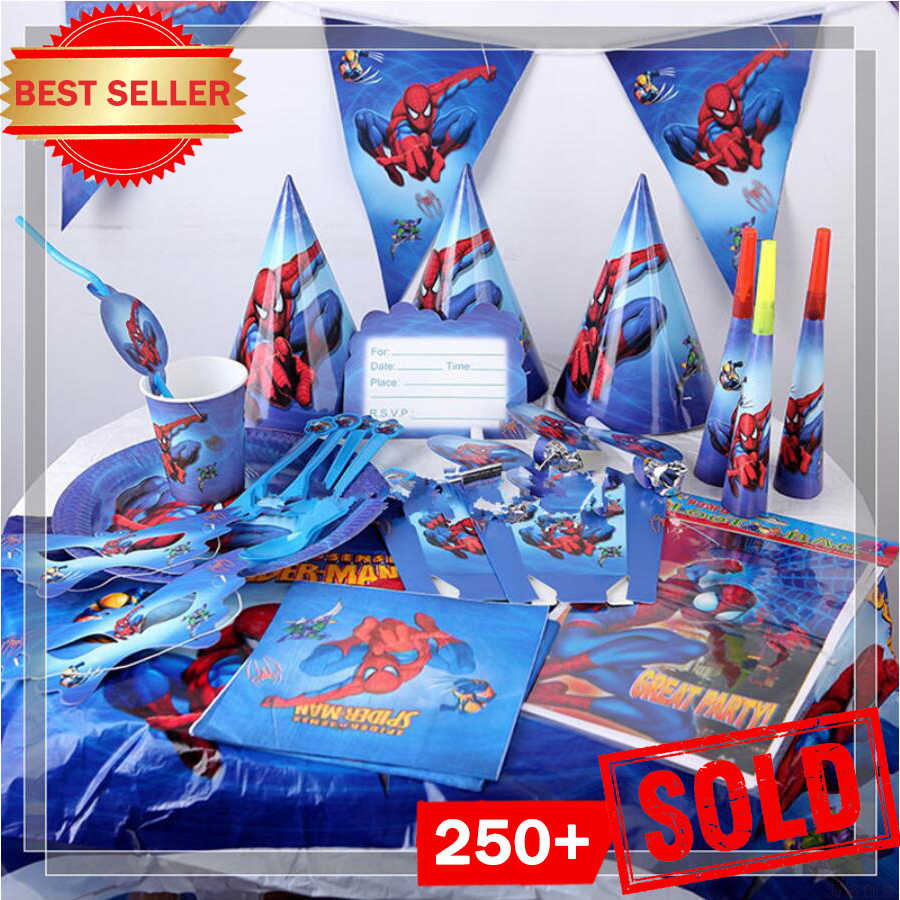 Superhero Spiderman Birthday PARTY Supplies ผ้าปูโต๊ะบอลลูน Favors เด็ก Spider Man Birthday PARTY Decorations Boy ชุด
